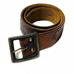 boho distressed leather embossed southwestern belt